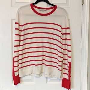 Loft Cotton Red White Sweater Stripes Button Large